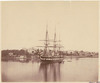"""H.M.S. """"Galatea"""" in Farm Cove ; Government House to the left / [attributed to Charles Pickering]"""
