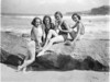 Group of beach beauties in Jantzen swim-suits, advertising Miners Lemon Creme moisturizer, at Tamarama; Capitol Theatre ballet girl, Queenie Paul (Royale ?), on the right