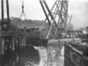 Launching of two water buses, (designed by Wing Commander Laurence Wackett), Morts Dock, Balmain