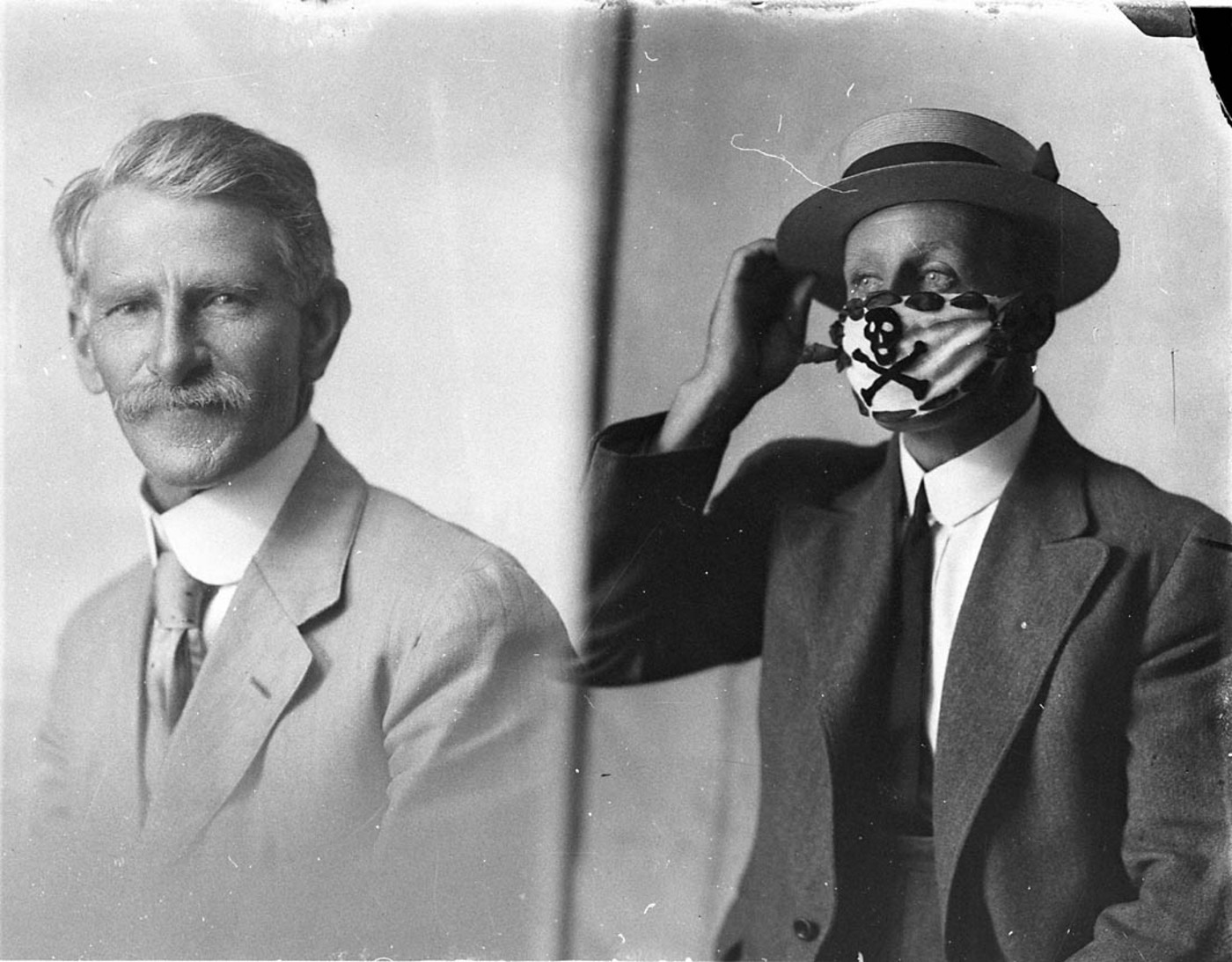 Two different men, one wearing a mask