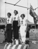 Decima Norman, Jean Coleman and Eileen Wearne win gold, silver and bronze medals for Australia in the 220 yard sprint, Empire Games, Sydney