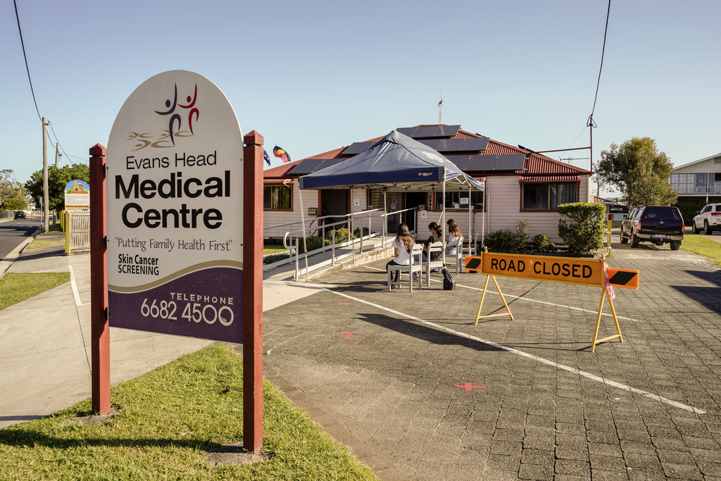 Item 21: Outdoor waiting room set up during the Coronavirus (COVID-19) pandemic, Evans Head Medical Centre, Evans Heads, New South Wales, 4 May 2020
