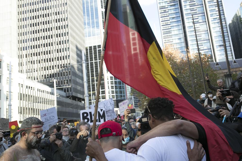 Item 08: Aboriginal flag, Black Lives Matter protest, Sydney, New South Wales, 6 June 2020