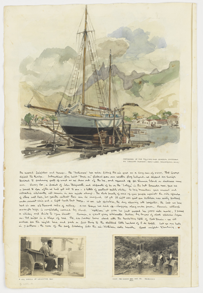 Kathleen up for painting and general overhaul, Oct. 1947: Kathleen's Voyage / Mauritious [Mauritius] to Durban: Log 4