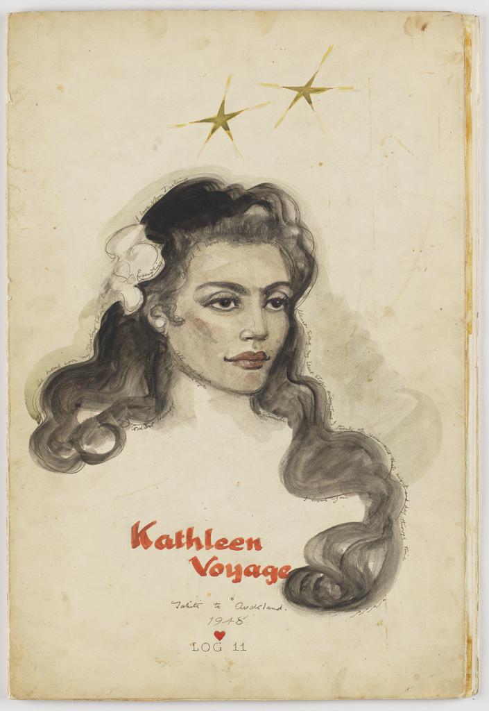 [Portrait, Kathleen Gillett Earl] with endearments, Kathleen voyage, Tahiti to Auckland, 1948, Log 11. September 10, 1948-November 11, 1948.