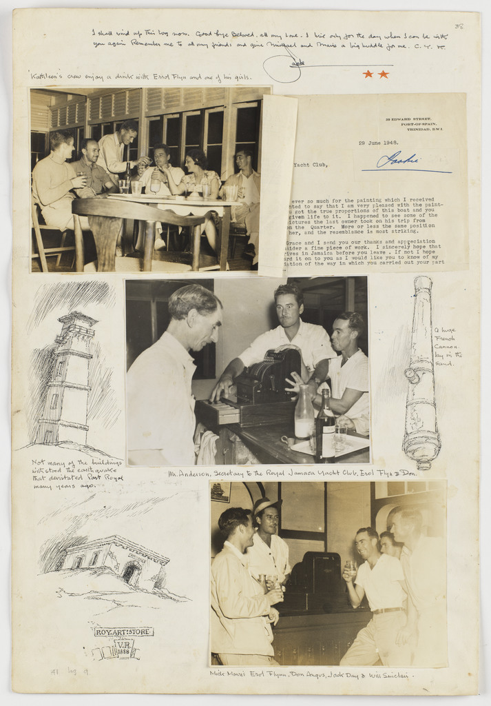 The Crew enjoy a drink with Hollywood actor & Australian, Errol Flynn at Port Royal, Jamaica: Kathleen's Voyage: Tinidad (sic) to Jamaica: 1948: Log 9