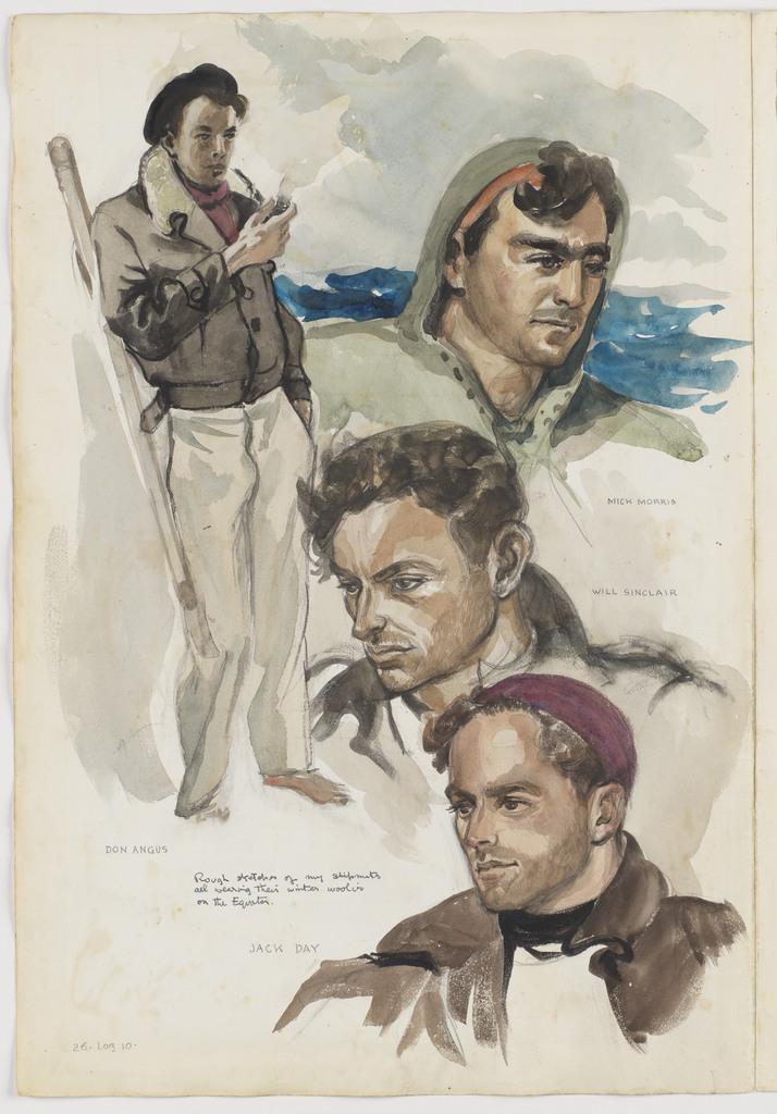 [Portraits of my four shipmates], Kathleen's voyage, Jamaica, Panama Canal and on to Fakarava Atoll and Tahiti, 1948, Log 10