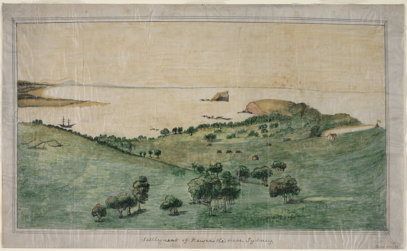 Drawing of a landscape, with small houses visible.
