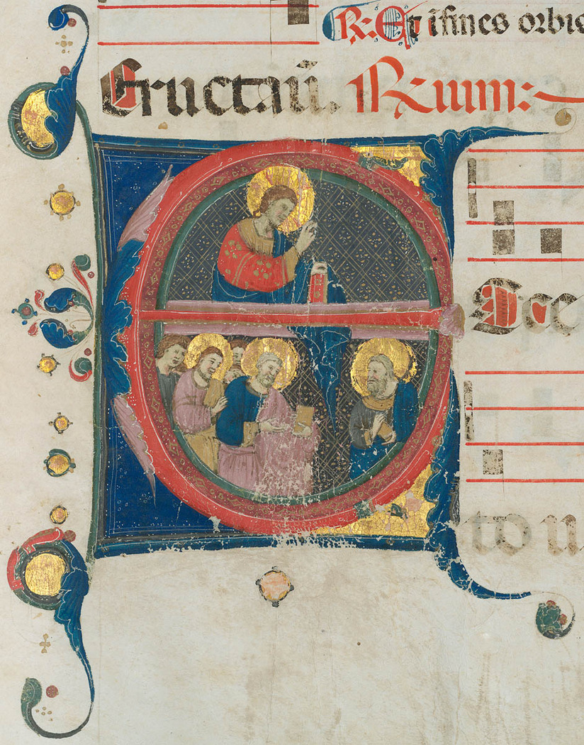 Letter 'E' illustrating the sending of the apostles from Antiphonal : Common of the Saints [music] [manuscript on vellum, 1328] [Neri da Rimini]