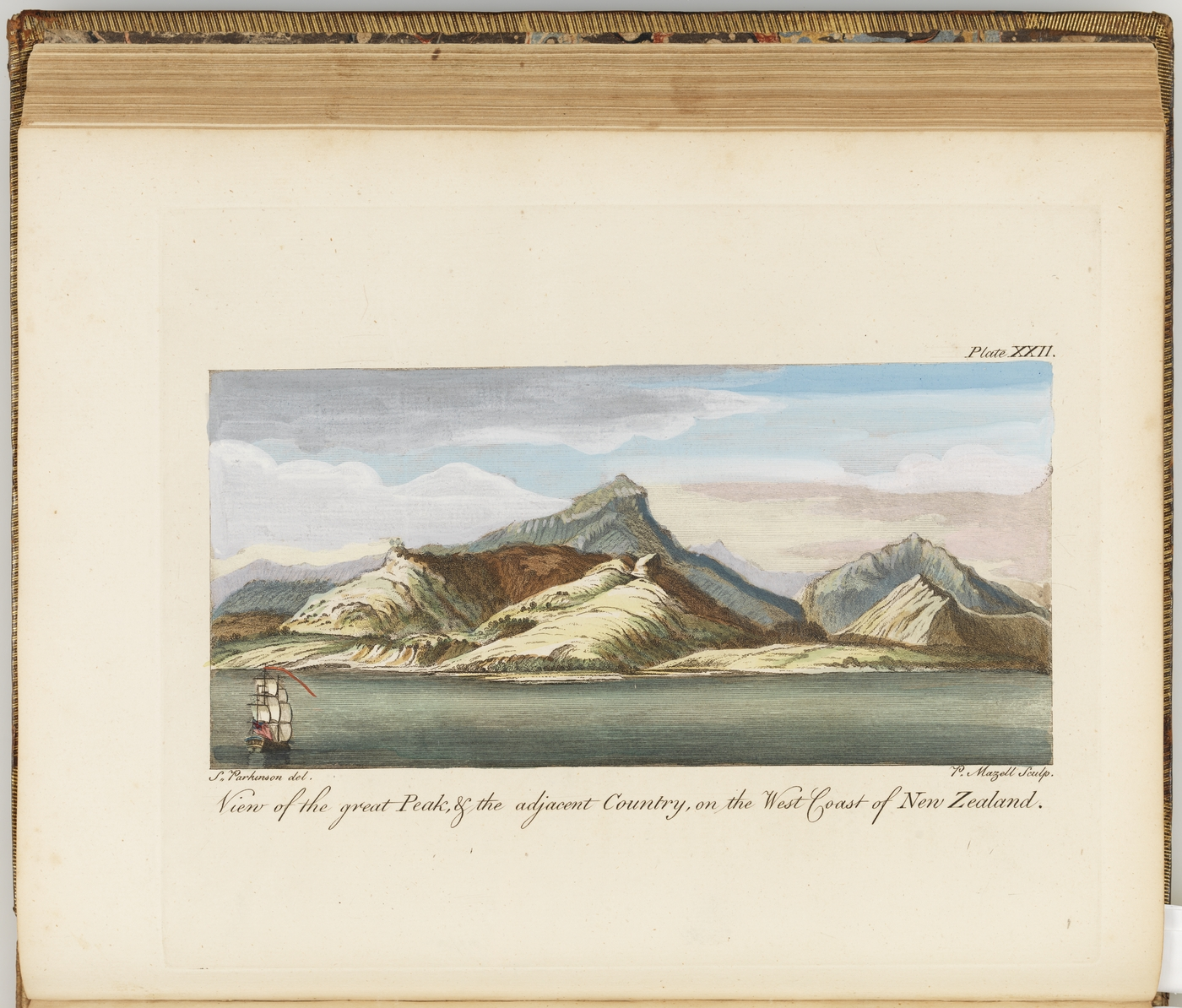 A journal of a voyage to the South Seas : in His Majesty's ship, the Endeavour : faithfully transcribed from the papers of the last Sydney Parkinson, draughtsman to Joseph Banks, esq. on his late expedition with Dr. Solander - View of peak