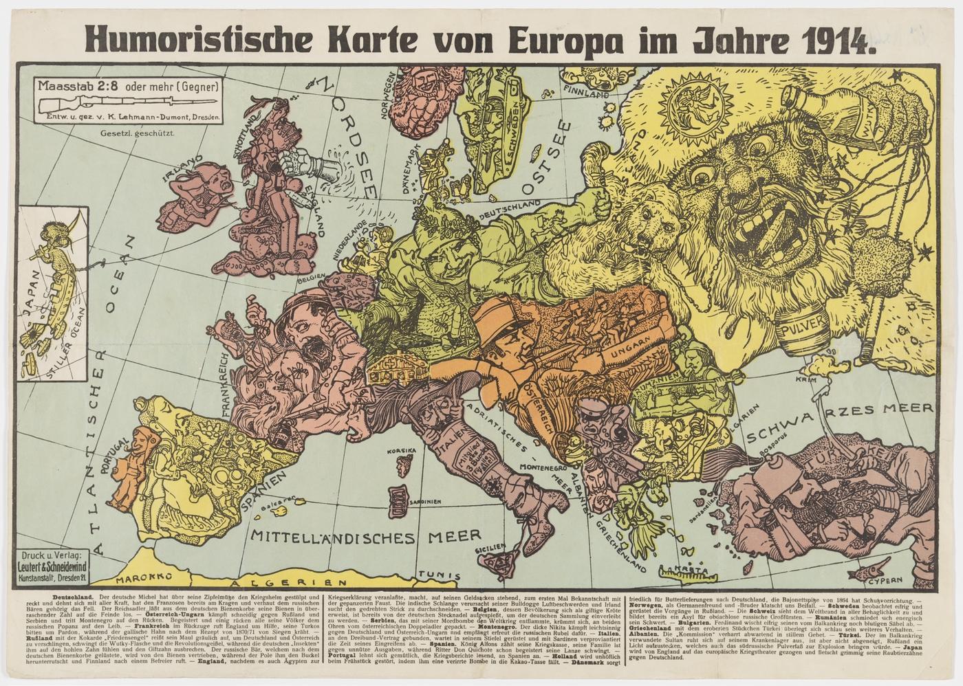 Humoristische Karte Von Europa 1914.Humoristische Karte Von Europa Im Jahre 1914 State Library